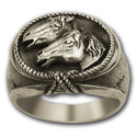 Double Horse Head Ring in Sterling Silver