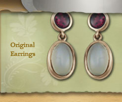 Gold Moonstone Earrings with Gemstone
