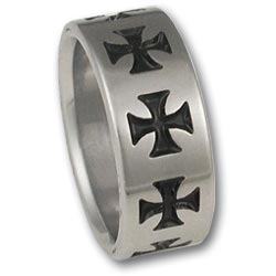 Titanium Celtic Ring w/ Black Maltese Cross