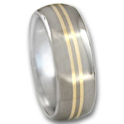 Titanium & 18k Gold Ring
