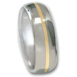 Titanium Ring w/ 18k Gold Inlay