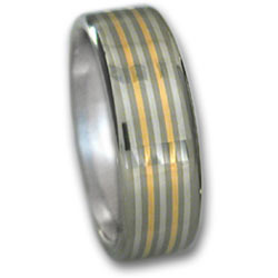 Titanium Ring w/18k Gold & Platinum Inlays